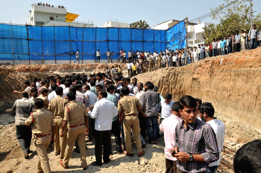 Three persons died as a under-contruction house collapsed near LB Nager, Hyderabad on Feb. 4.