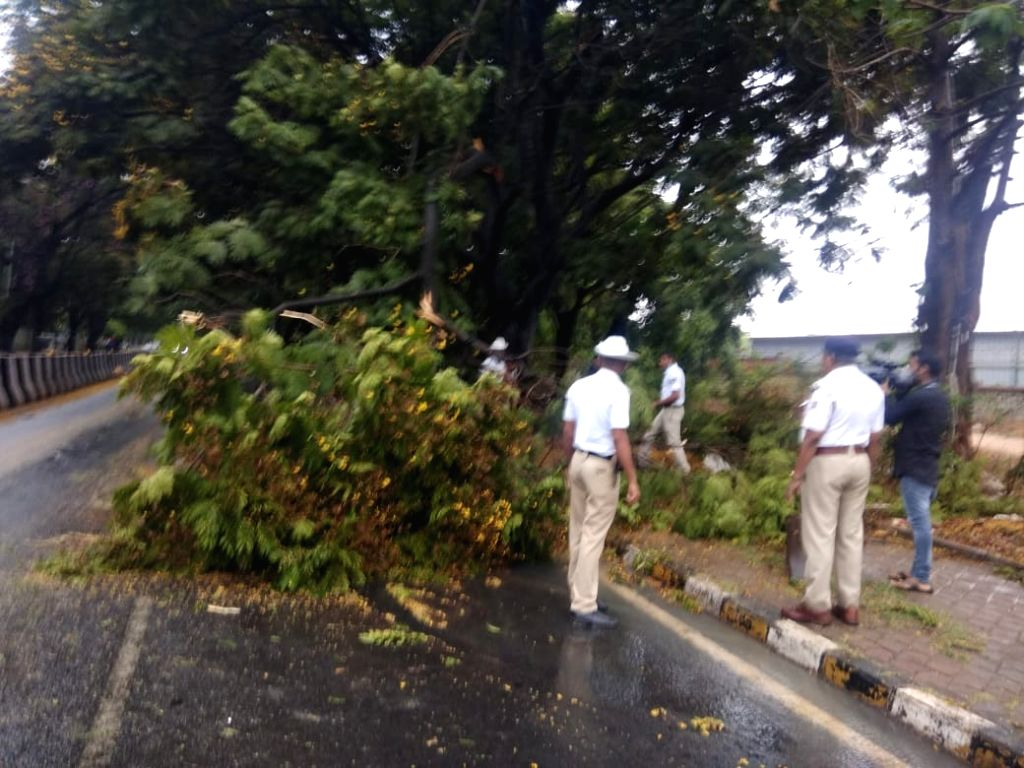 Thunder showers lashed Bengaluru city late night on Thursday night and Friday morning, helping cool the city off a bit, a Met official said. The showers damaged roads and buildings in ...