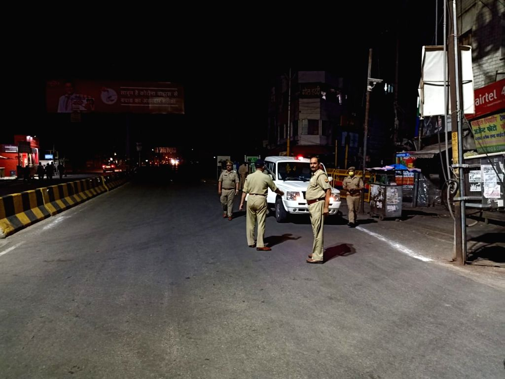 Thursday night Ghaziabad Police SSP on road with force  .