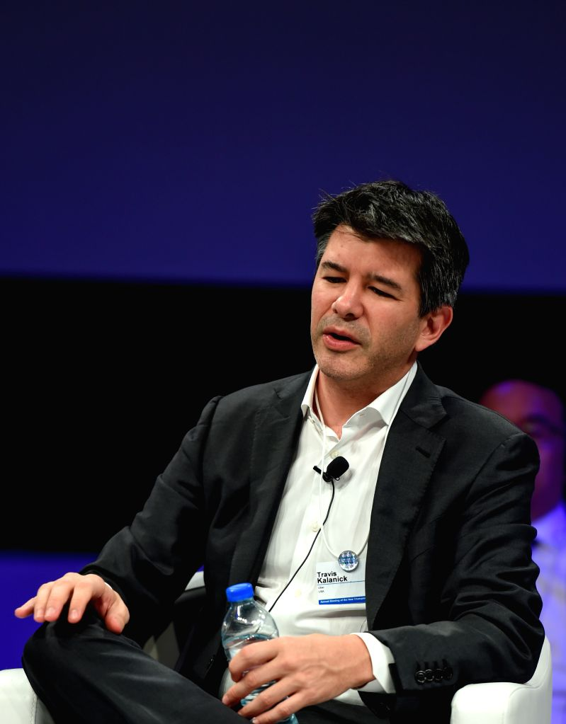 TIANJIN, June 27, 2016 - Travis Kalanick, current CEO of the transportation network company Uber, speaks during a session of the Annual Meeting of the New Champions 2016, or the Summer Davos Forum, ...