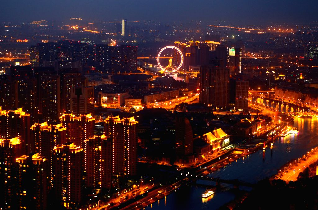 Photo taken on May 12, 2014 shows the night scene of Tianjin City, north China.
