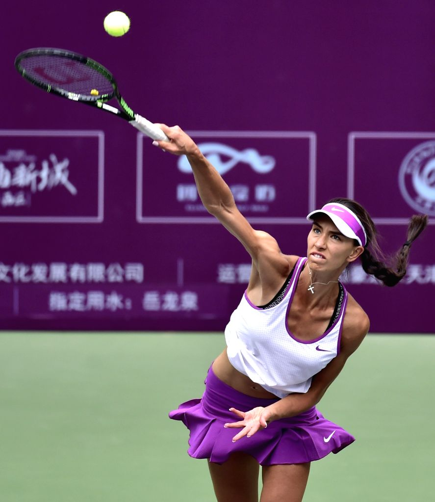 TIANJIN, May 27, 2016 - Anastasia Pivovarova of Russia serves during the singles' quarterfinal against Liu Fangzhou of China in 2016 ITF Women's Circuit in north China's Tianjin Municipality, on May ...