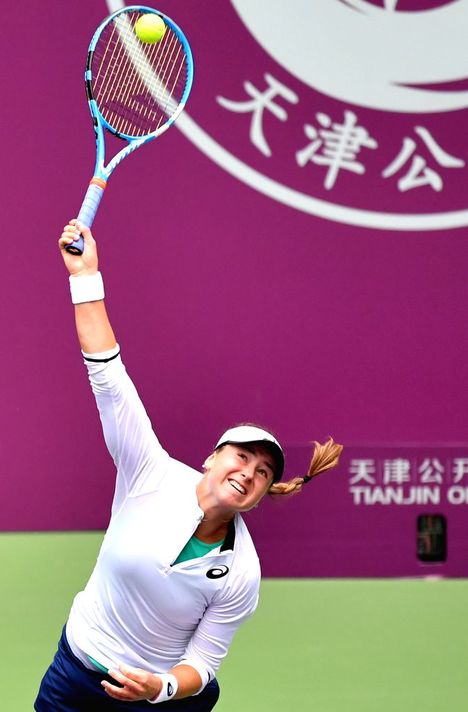 TIANJIN, Oct. 11, 2019 - Rebecca Peterson of Sweden serves during the women's singles quarterfinal match against Wang Yafan of China at the WTA Tianjin Open tennis tournament in Tianjin, north China, ...