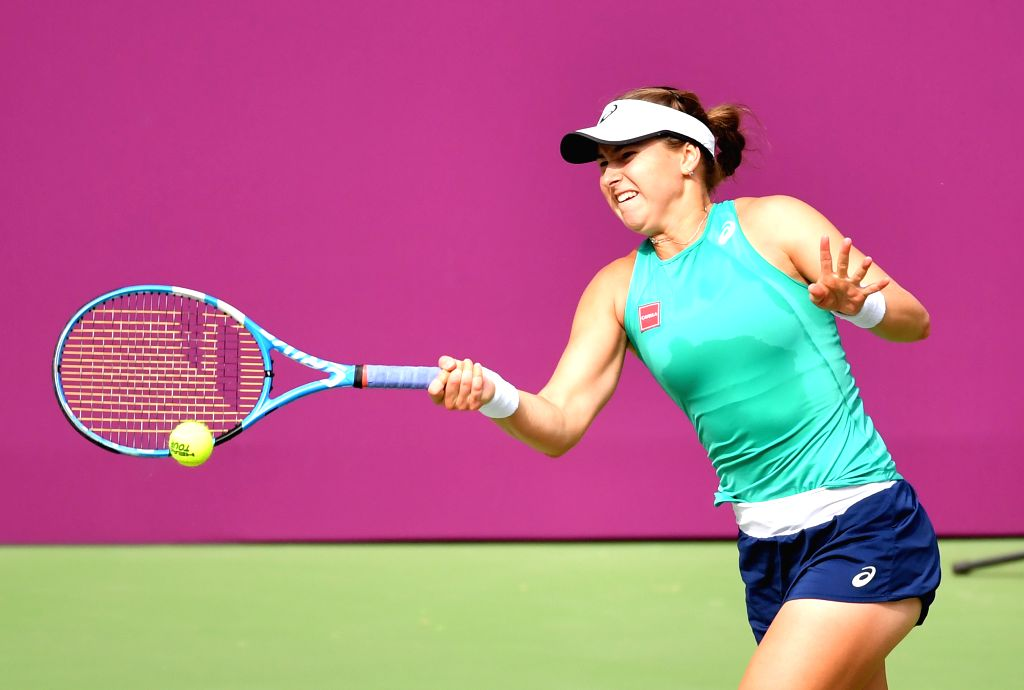 TIANJIN, Oct. 12, 2019 - Rebecca Peterson of Sweden hits a return during the women's singles semifinal match between Ons Jabeur of Tunisia and Rebecca Peterson of Sweden at the WTA Tianjin Open ...