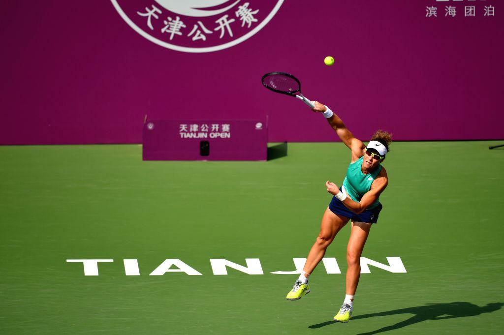 TIANJIN, Oct. 9, 2019 - Samantha Stosur of Australia serves during the women's singles second round match between Yulia Putintseva of Kazakhstan and Samantha Stosur of Australia at the WTA Tianjin ...