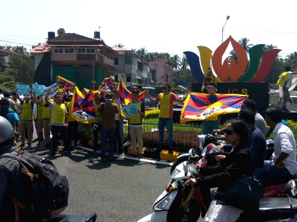Tibetan activists stage a demonstration against China near KTC bus stand in Margao on Oct 15, 2016.