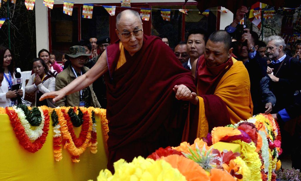 Tibetan spiritual leader Dalai Lama arrives at Urgelling Monastery in Tawang of Arunachal Pradesh on April 9, 2017.
