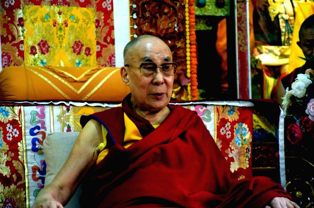 Tibetan spiritual leader Dalai Lama at Neri Gompa in Manali.