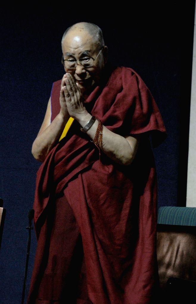 Tibetan spiritual leader Dalai Lama during Rajendra Mathur Memorial Lecture in New Delhi on Aug 9, 2017.