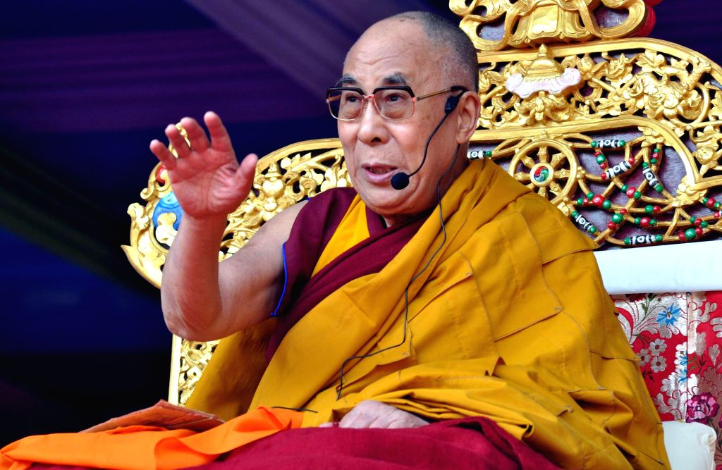 Tibetan spiritual leader Dalai Lama during the 2nd day of the five-days long `Tibet Fest 2014`- Festival of Tibetan Art and Culture at the Srimanta Sankaradeva Kalakshetra in Guwahati on Feb.3, 2014. (Photo: IANS)