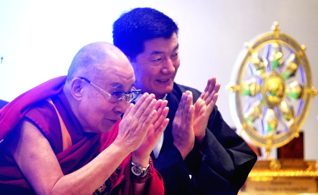 "Tibetan spiritual leader the Dalai Lama and Central Tibetan Administration President Lobsang Sangay during ""Thank You Karnataka"" an event to mark 60th year of Tibetan arrival to ..."