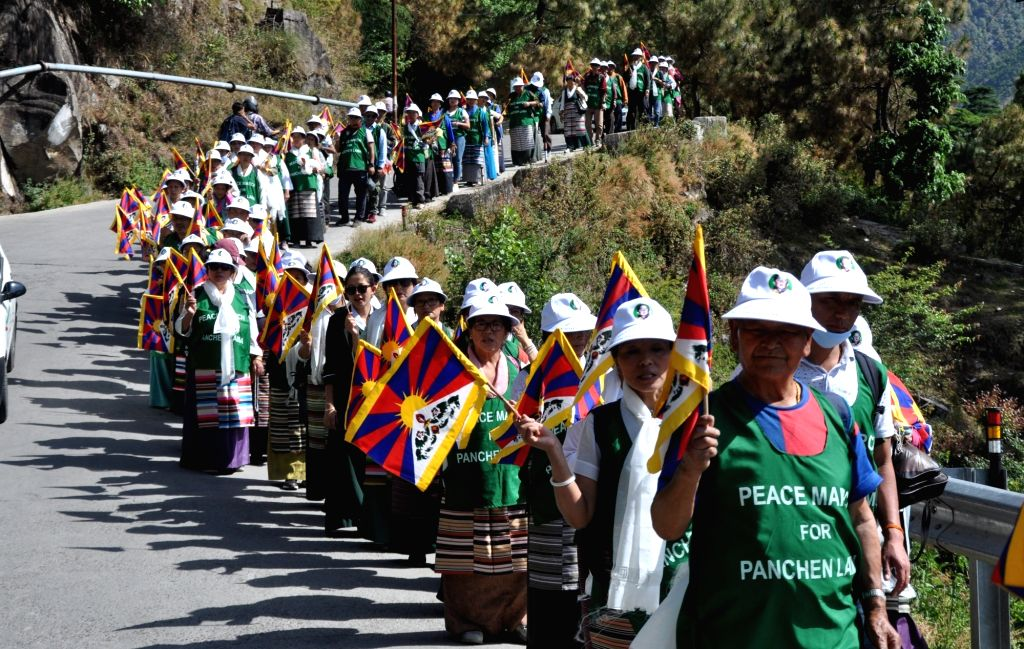 Tibetans in exile embark on a rally from Dharamshala to Chandigarh on the occasion of the 30th birth anniversary of the 11th Panchen Lama, on April 25, 2019.