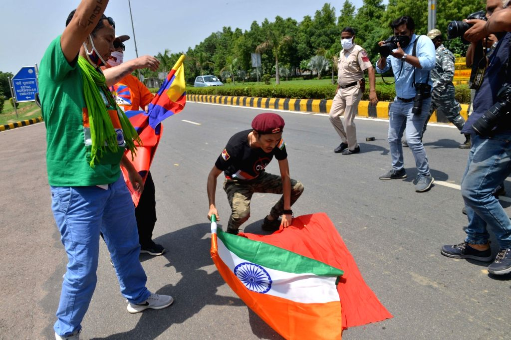 Tibetans in exile stage a demonstration against China near the Chinese embassy in New Delhi on July 11, 2020.