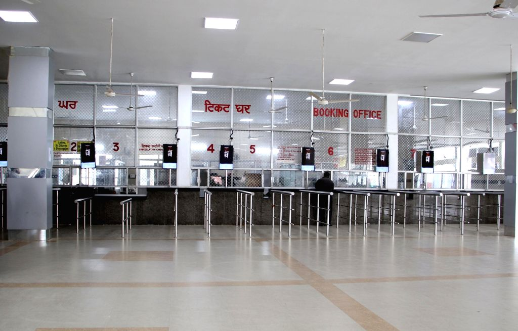 Ticket counters at a bus station bear a deserted look after public transport services were susupended in the wake of increasing cases of COVID-19, in Amritsar on March 21, 2020.