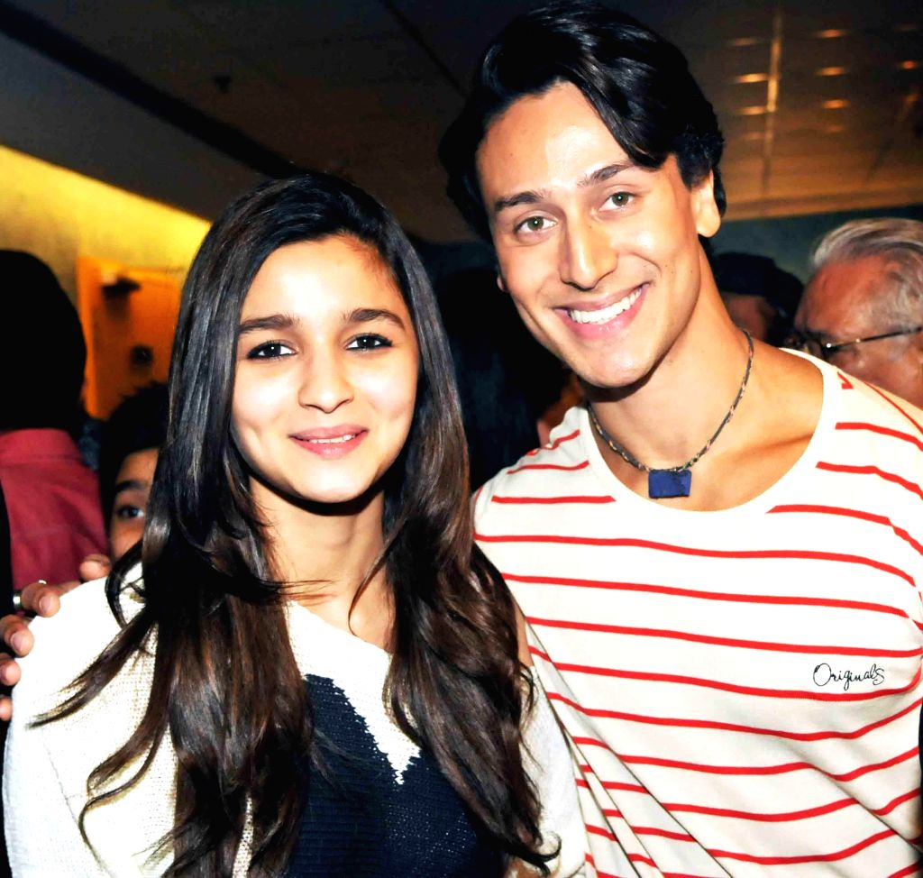 Tiger Shroff and Aliya Bhatt during special screening of film 2 States at YRF Studios in Mumbai on April 17, 2014.