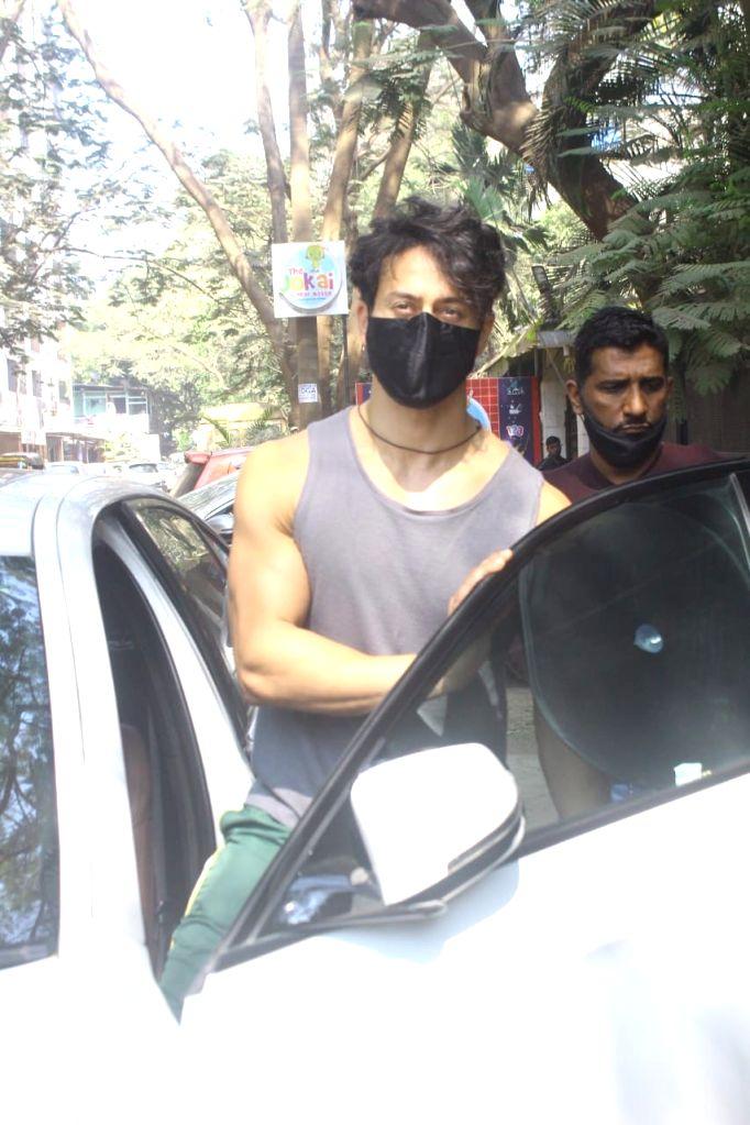 Tiger Shroff seen at dubbing Studio in Juhu,Mumbai on Thursday,28 January 2021.