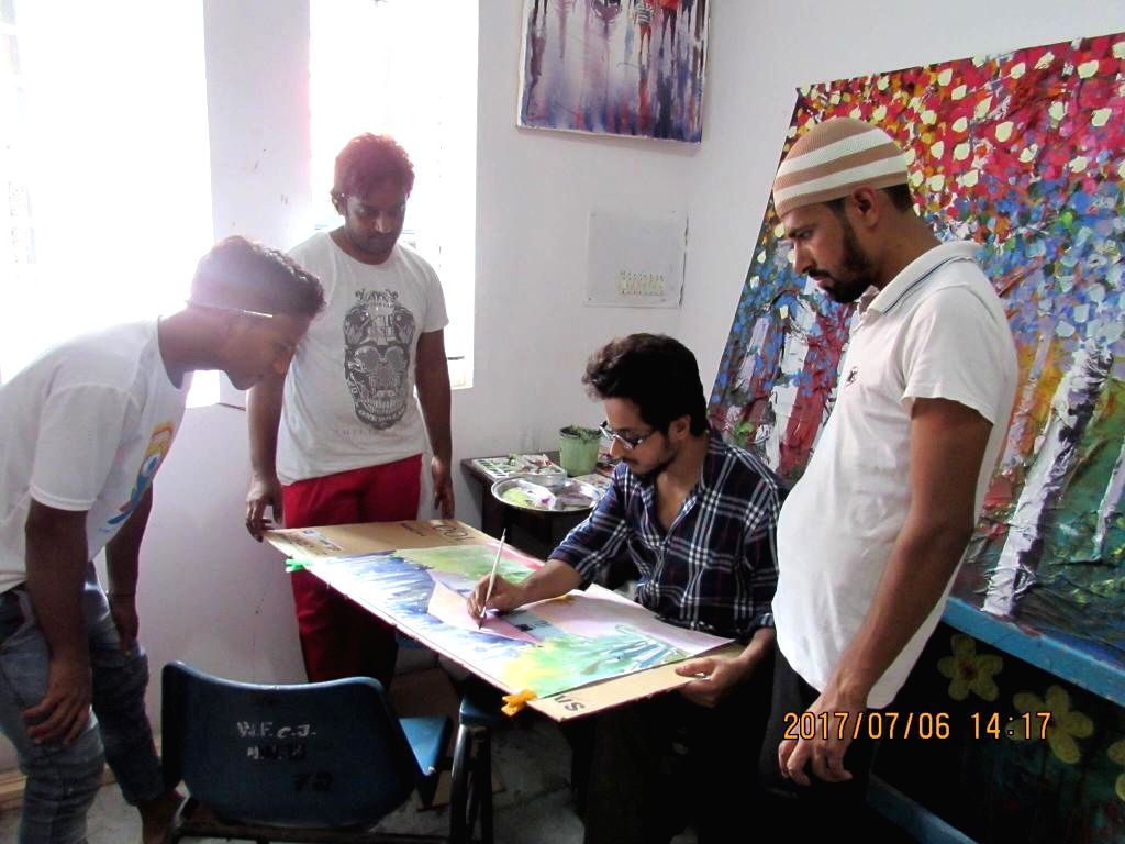 Tihar Jail inmates during the initial stages of their art classes.