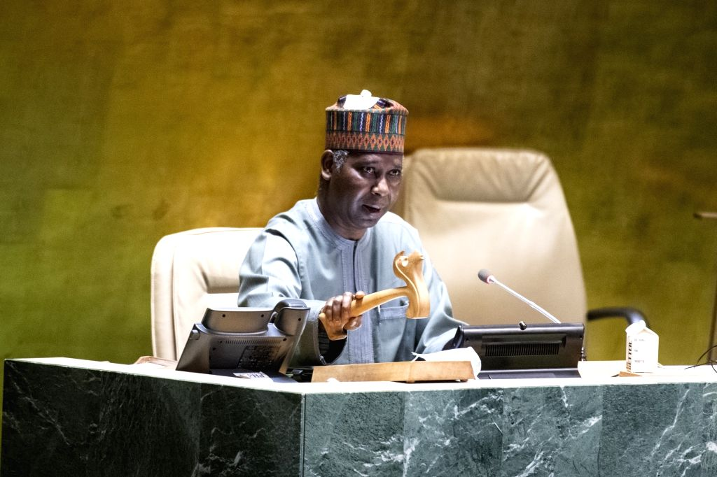 Tijjani Muhammad-Bande, president of the 74th session of the United Nations General Assembly, chairs the 64th plenary meeting of the 74th session of the UN ...