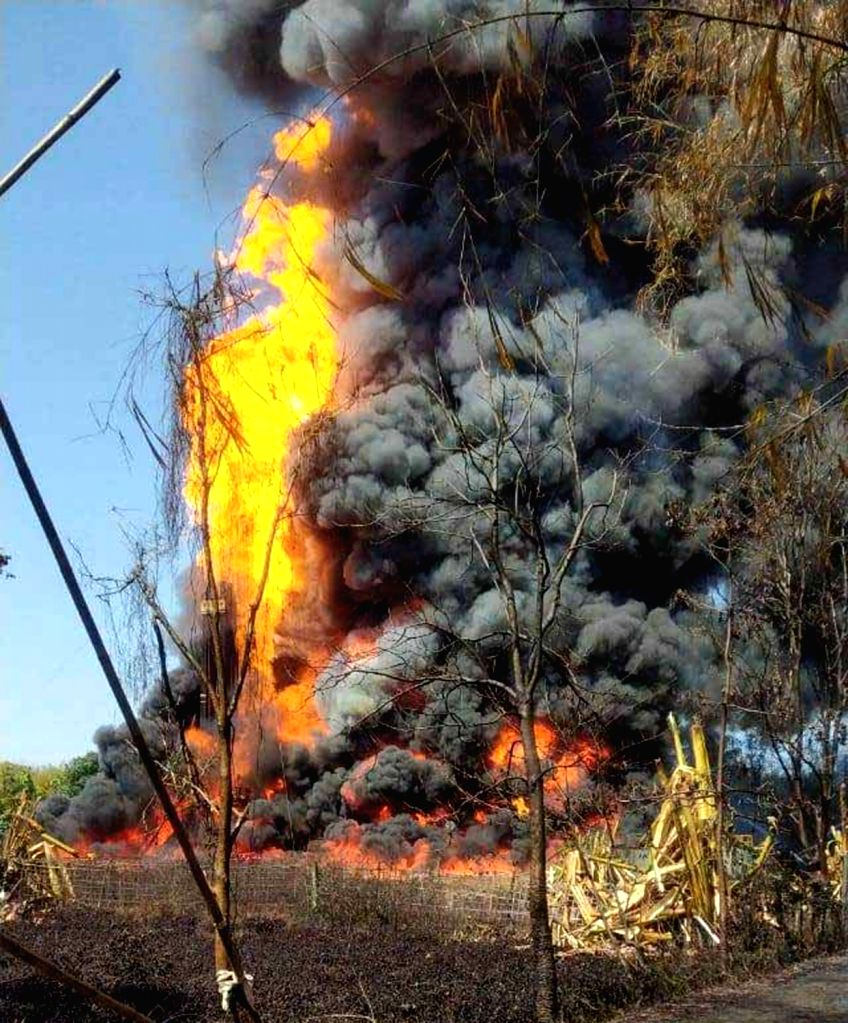 Tinsukia: Massive fire engulfed the oil field in Baghjan area of Assam's Tinsukia a week after a blowout, on June 9, 2020. As many as 650 families, comprising 2,500 people, have been shifted to three relief camps after the State-owned Oil India Limit