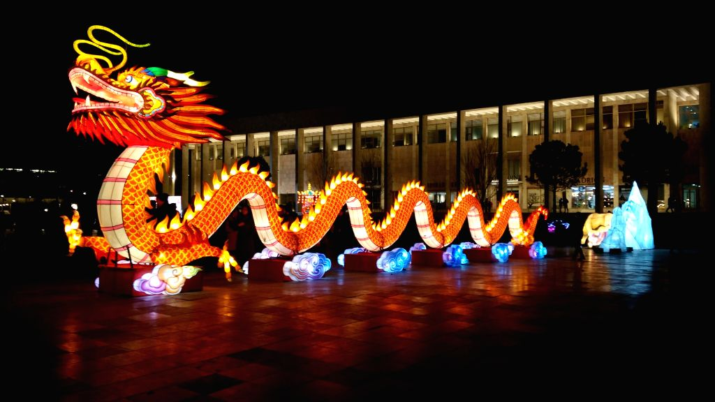 TIRANA, Feb. 1, 2019 - A Chinese dragon-shaped lantern is seen at the Chinese Lantern Festival in Tirana, capital of Albania, on Feb. 1, 2019. Albania joined the celebration of the Chinese New Year, ...
