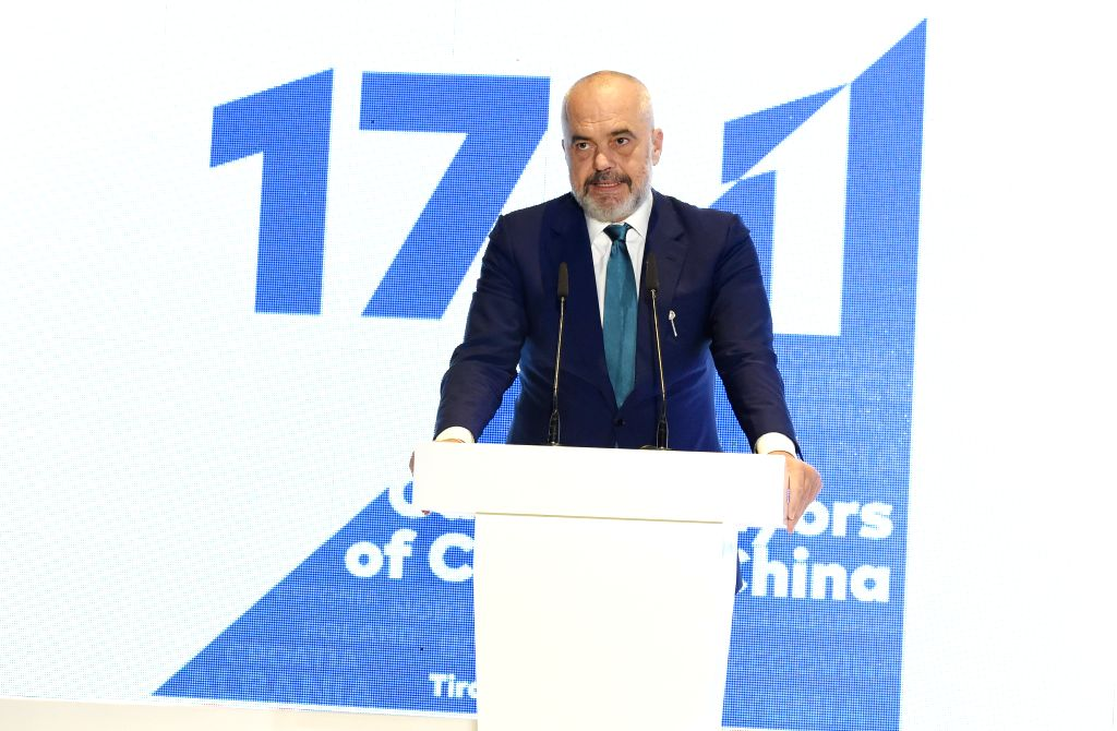 TIRANA, Oct. 25, 2019 - Albanian Prime Minster Edi Rama speaks at the opening ceremony of the fourth China-CEEC (Central and Eastern European Countries) Forum of Capital City Mayors in Tirana, ...