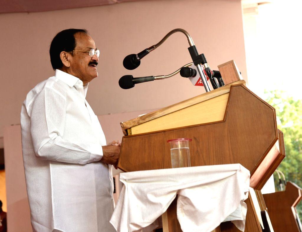 Tiruchirappalli: Vice President M. Venkaiah Naidu addresses at the inaugural ceremony of the centenary celebrations of National College in Tiruchirappalli, Tamil Nadu on Jan 10, 2020. (Photo: IANS/PIB) - M. Venkaiah Naidu