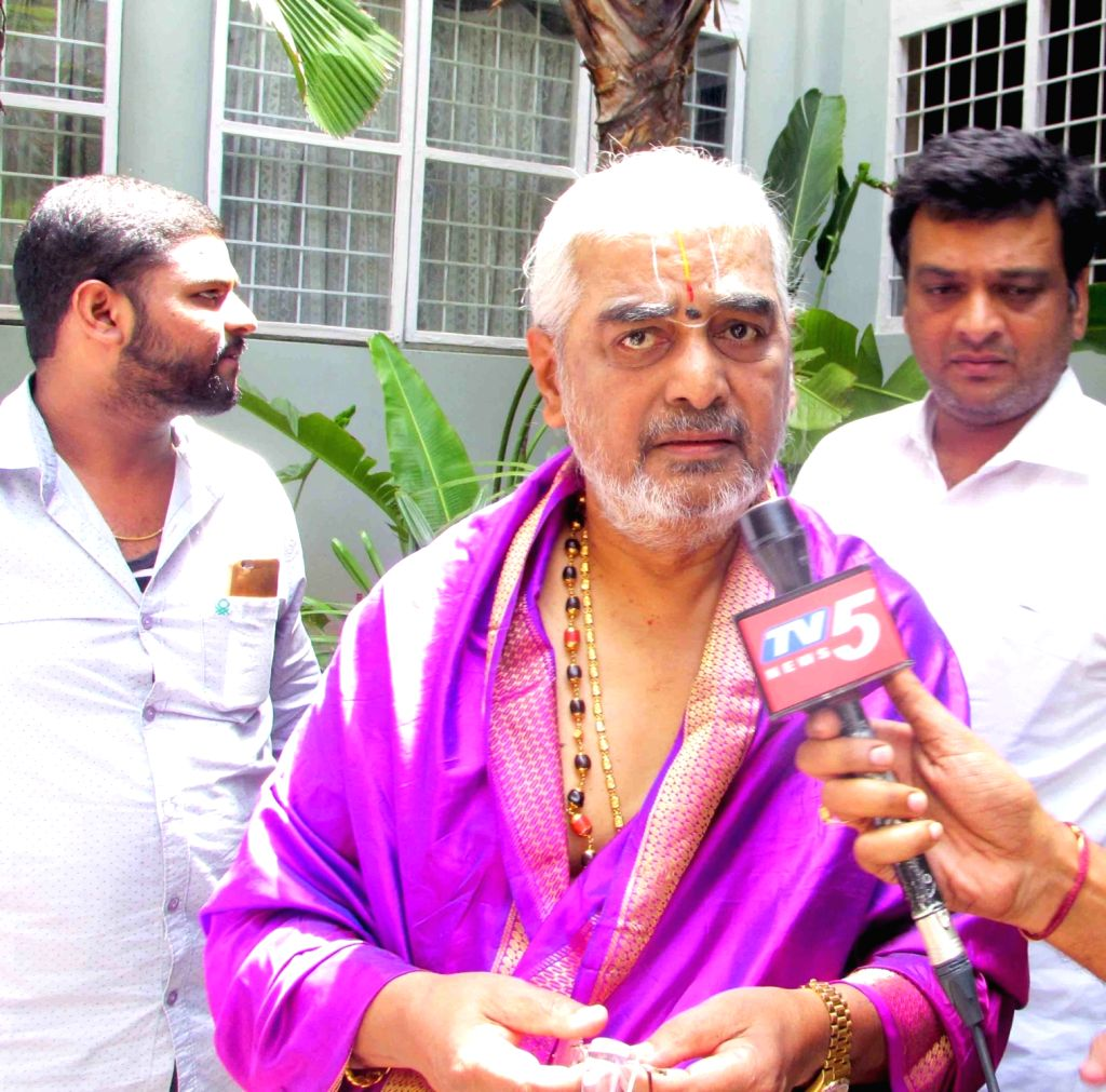 Tirumala head priest AV Ramana Dikshitulu talks to the media, in Hyderabad on May 20, 2018.