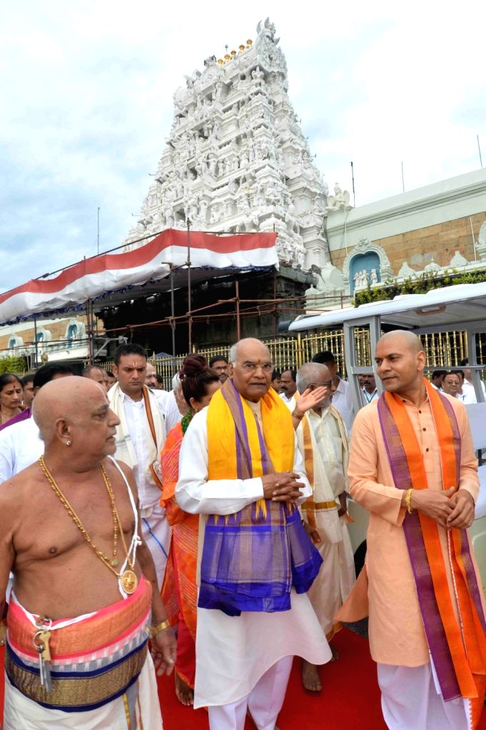 Tirumala: President Ram Nath Kovind during his visit to Venkateswara Swamy temple in Tirumala, Andhra Pradesh on July 14, 2019. (Photo: IANS/RB) - Nath Kovind