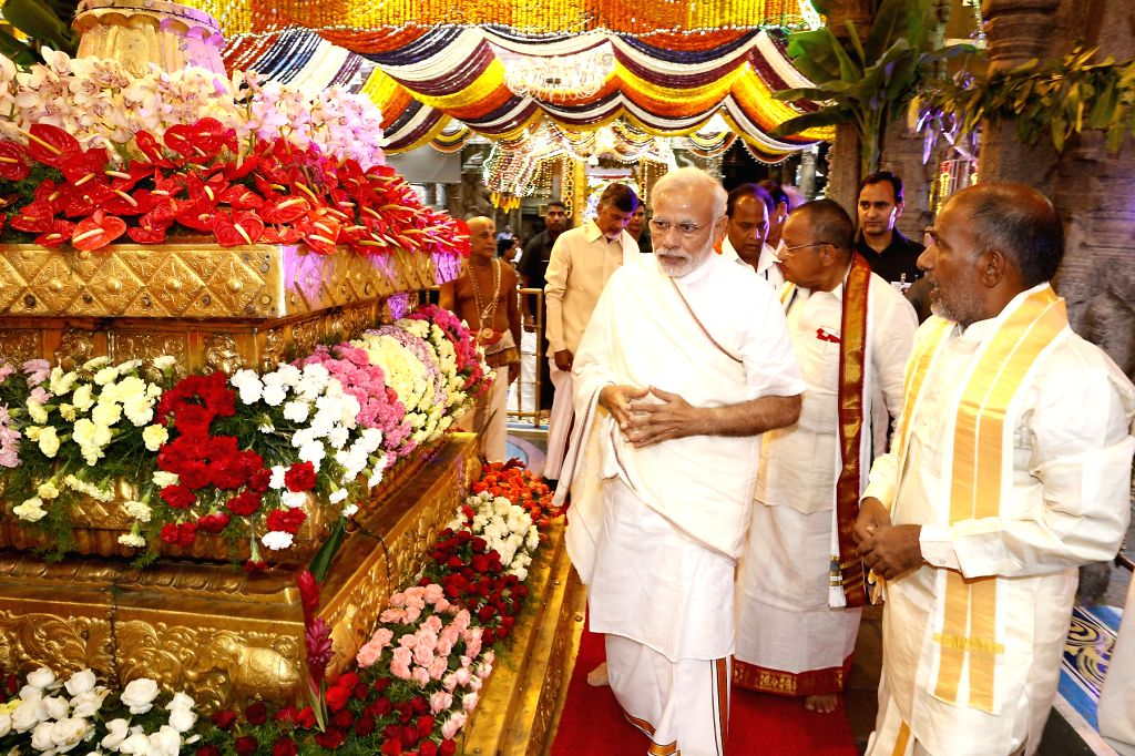 Tirumala: Prime Minister Narendra Modi on Thursday offered worship at Lord Venkateswara temple  (Photo: IANS) . - Narendra Modi
