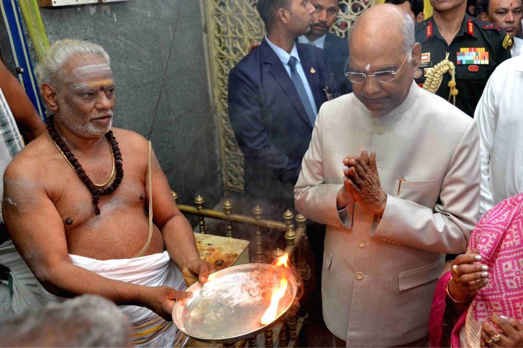 Tirupati: President Ram Nath Kovind during his visit to visits Padmavathi Ammavari temple and Sri Kapileswara Swamy temple in Tirupati, Andhra Pradesh on July 13, 2019. (Photo: IANS/RB) - Nath Kovind