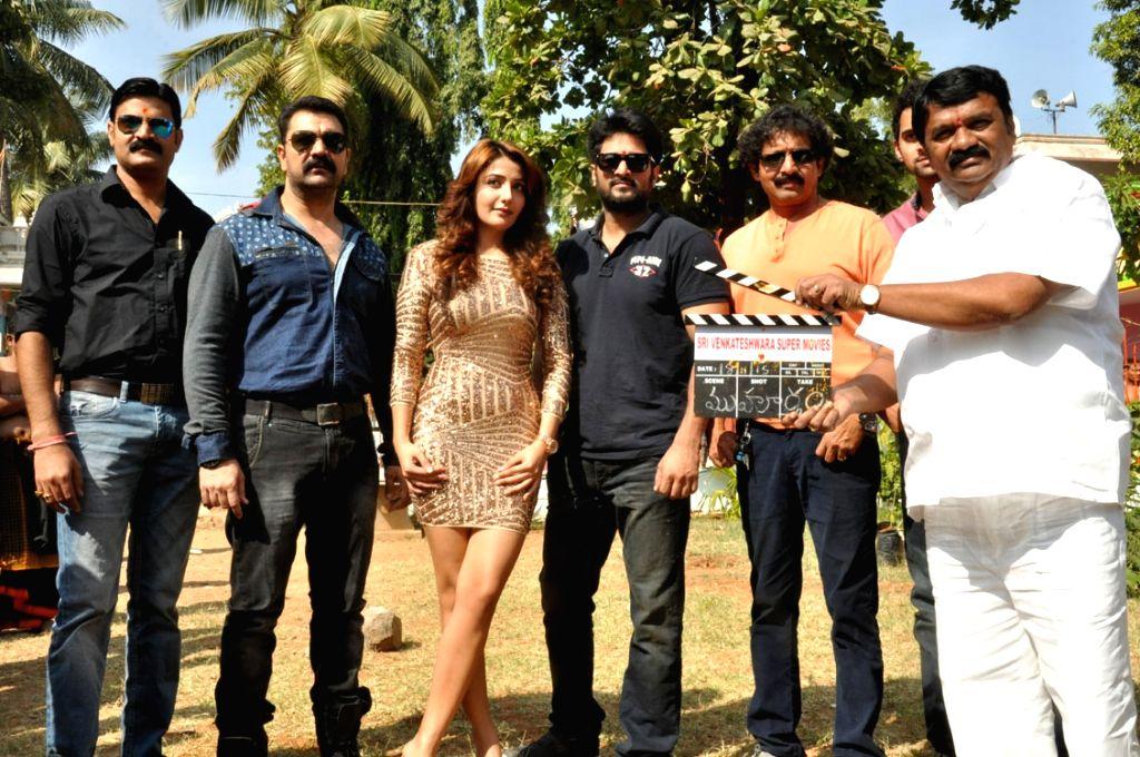 Tlugu film `Dr Chakravarthy` Opening at Hanuman Temple at Sanath Nagar in Hyderabad .
