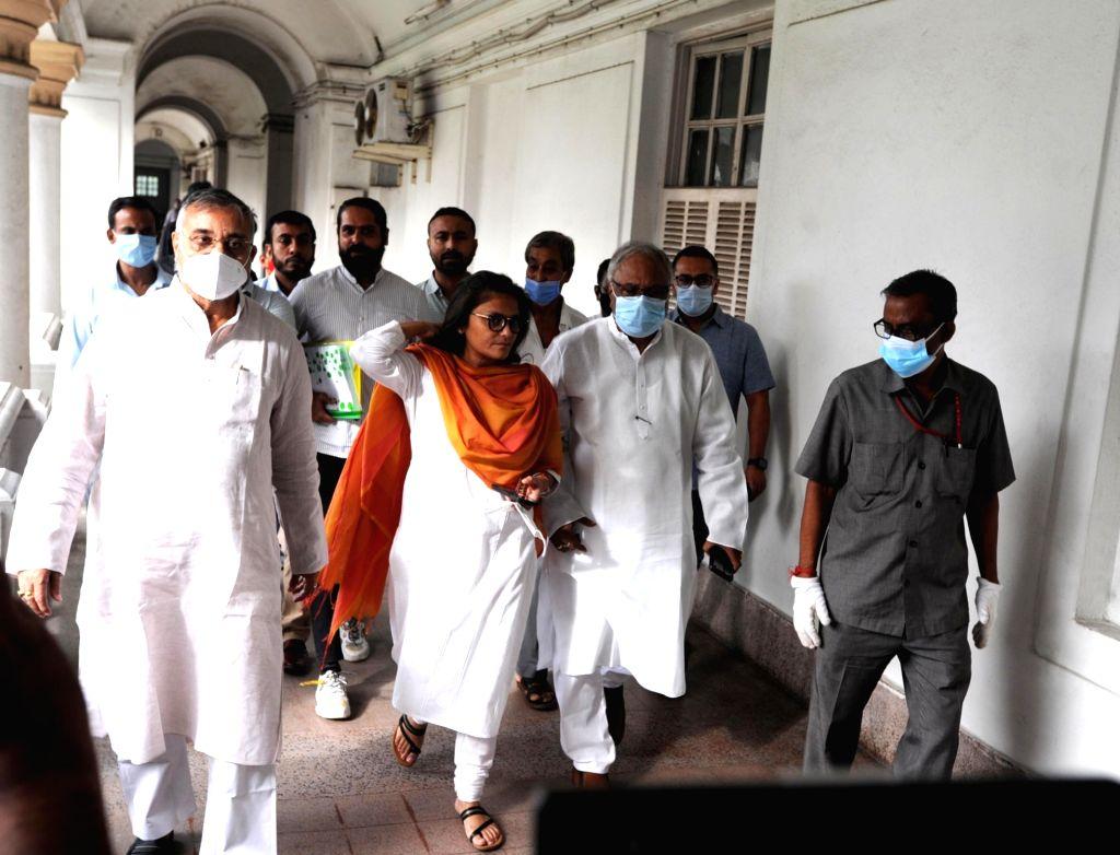 TMC candidate Susmita Dev receiving certificate after unopposed winning at the Rajya Sabha in Kolkata on September 27, 2021. - Susmita Dev