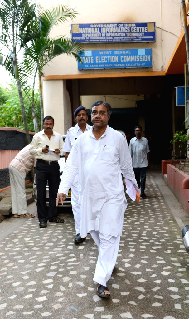 TMC leader Tapas Roy coming out from all party meeting held in West Bengal State Election Commission office in Kolkata on August 16, 2013. (Photo::: IANS) - Roy