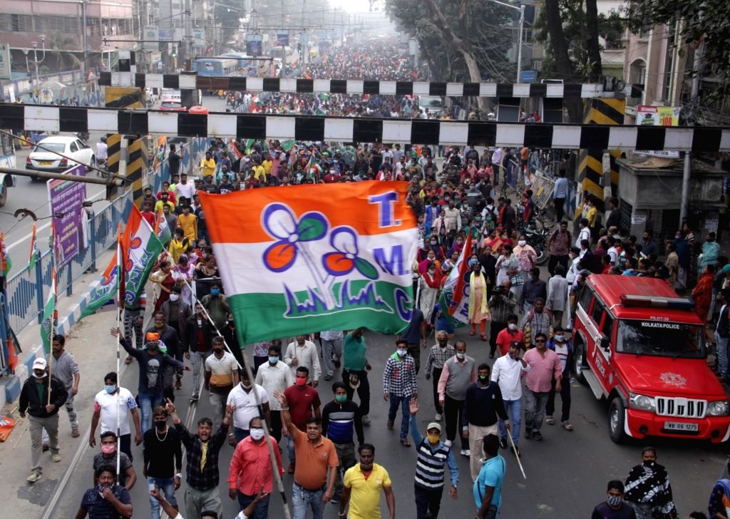 TMC leaders and activists took part in a protest rally against the BJP party in Kolkata on Jan 19, 2021  .