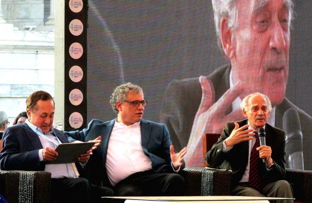 TMC MP Derek O'Brien and economist, journalist, author and politician Arun Shourie during Kolkata Literary Meet 2018 in Kolkata on Jan 27, 2018.