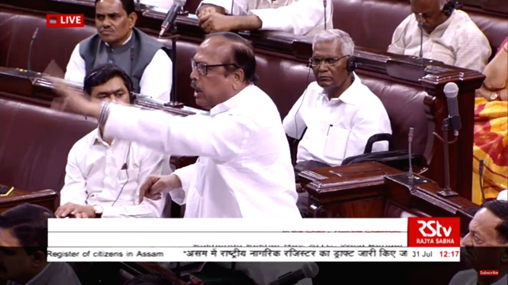TMC MP Shukhendu Shekhar Roy speaks during a discussion on National Register of Citizens of India (NRC) of Assam that excludes over 40 lakh names, at Rajya Sabha during the Monsoon Session ... - Shukhendu Shekhar Roy