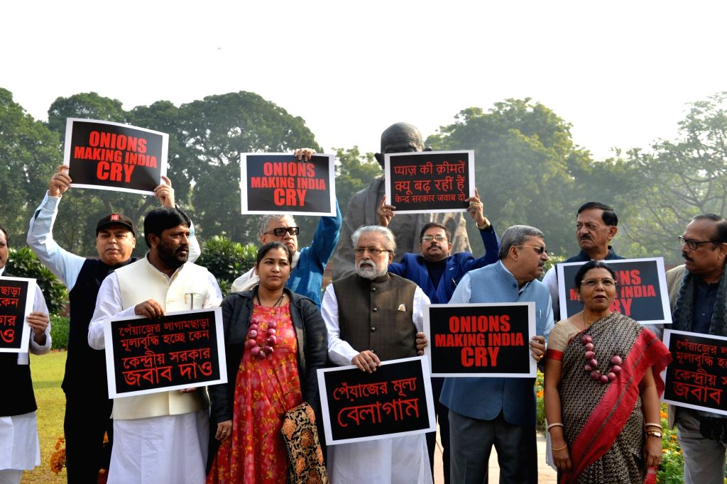 TMC MPs led by Sudip Bandyopadhyay and Derek O'Brien, stage a demonstration against the rising prices of onion across the country, at Parliament in New Delhi on Dec 6, 2019.