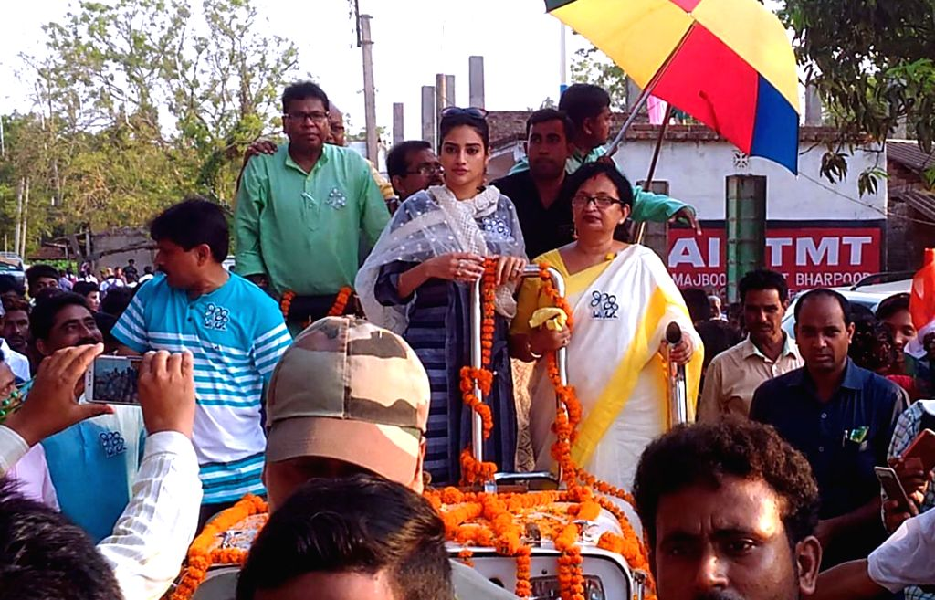 TMC's candidate from Basirhat constituency, Nusrat Jahan during an election campaign for the forthcoming Lok Sabha polls at Sabra village in Paschim Medinipur district, West Bengal, on ...