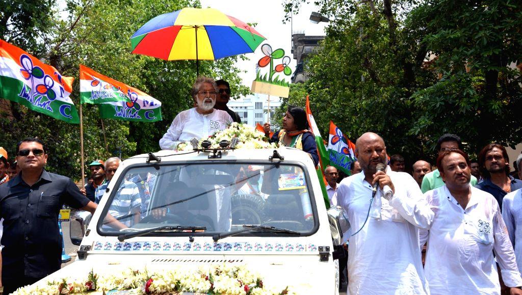 TMC's Lok Sabha candidate from North Kolkata, Sudip Bandyopadhyay during an election campaign for the forthcoming Lok Sabha polls, in Kolkata, on May 12, 2019.