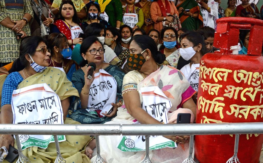 TMC women leaders and activists took part in a protest against fuel price hike in Kolkata on Monday 22nd February 2021.