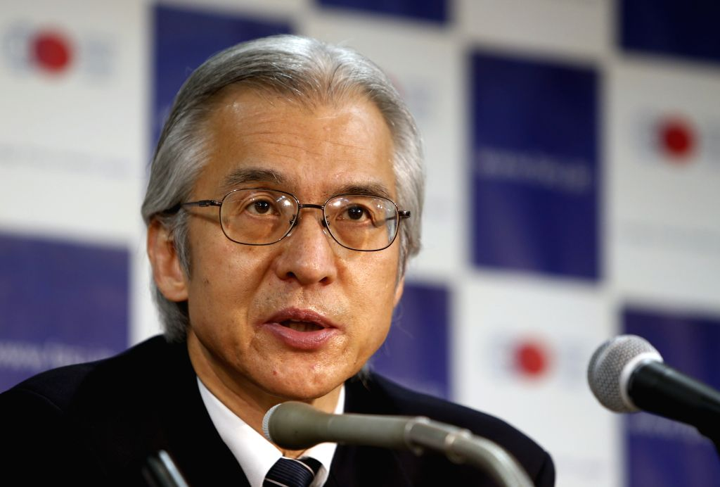 Joji Morishita, Japan's commissioner to the International Whaling Commission (IWC), speaks during a press conference in Tokyo, Japan, April 14, 2015. IWC said on ...