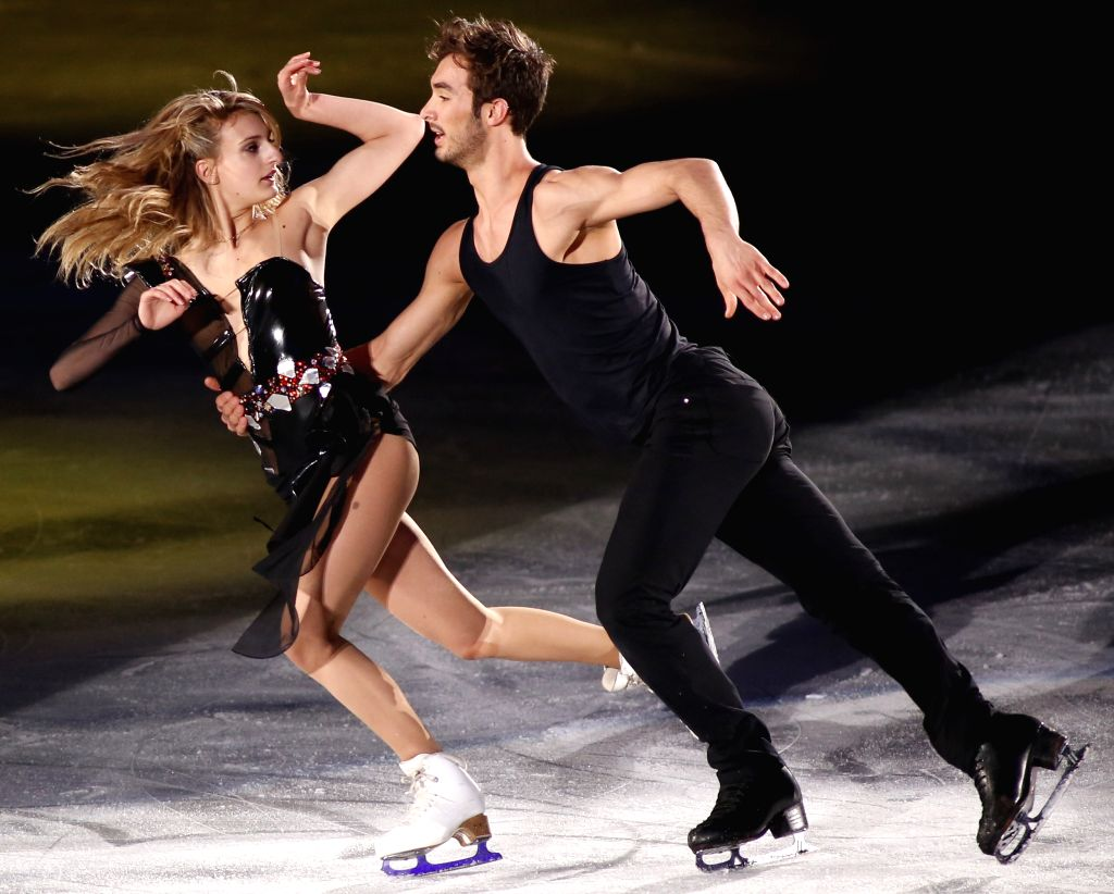 Gabriella Papadakis (L) and Guillaume Cizeron of France perform during the exhibition at the International Skating Union (ISU) World Team Trophy of Figure Skating ...