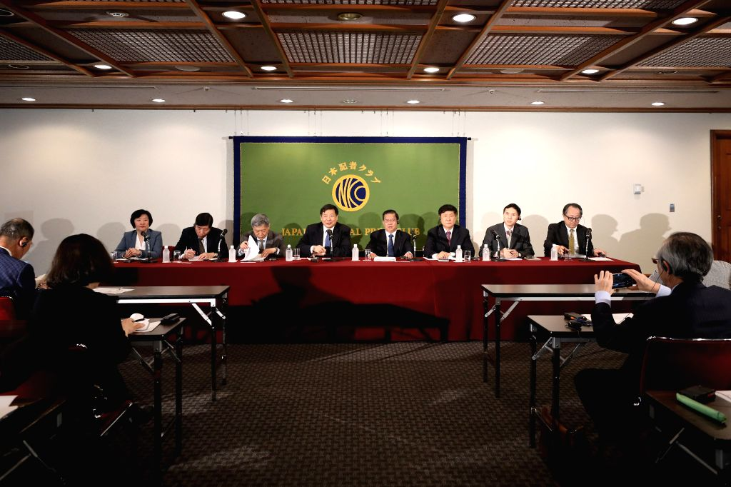 TOKYO, April 27, 2019 - China's former Vice Finance Minister Zhu Guangyao (4th L) speaks during a press conference at the Japan National Press Club in Tokyo, Japan, April 25, 2019. A delegation of ... - Zhu Guangyao