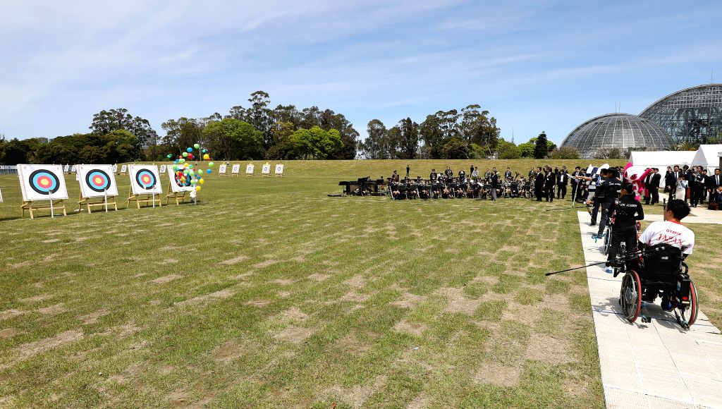 TOKYO, April 28, 2019 - Archers shoot at targets to release balloons as part of the opening ceremony of the Yumenoshima Park Archery Field, a new permanent venue that will be used for the Olympic ...