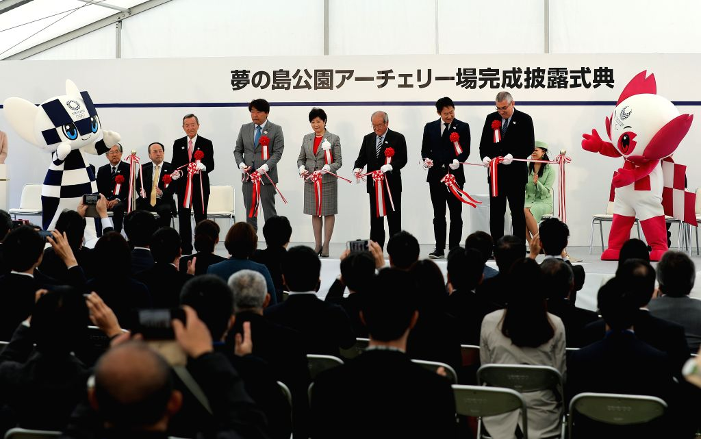 TOKYO, April 28, 2019 - Guests take part in a tape-cutting ceremony to mark the completion of the Yumenoshima Park Archery Field, a new permanent venue that will be used for the Olympic Games and ...