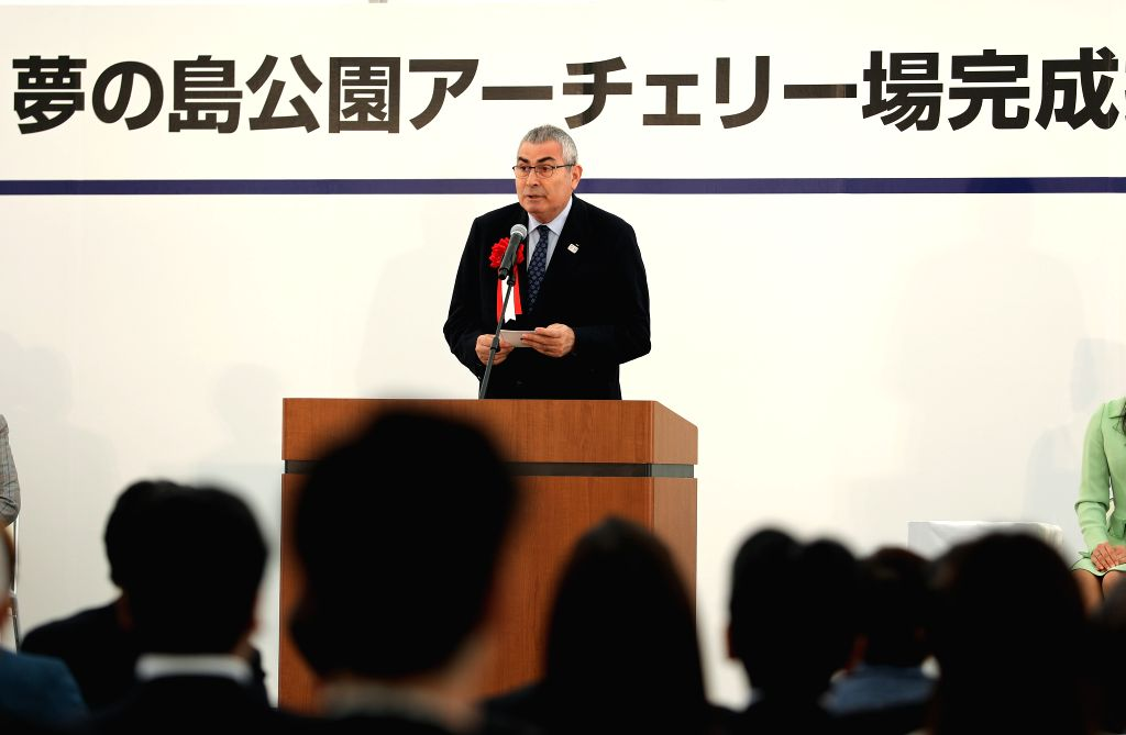 TOKYO, April 28, 2019 - Ugur Erdener, president of World Archery, delivers a speech during the opening ceremony of the Yumenoshima Park Archery Field, a new permanent venue that will be used for the ...