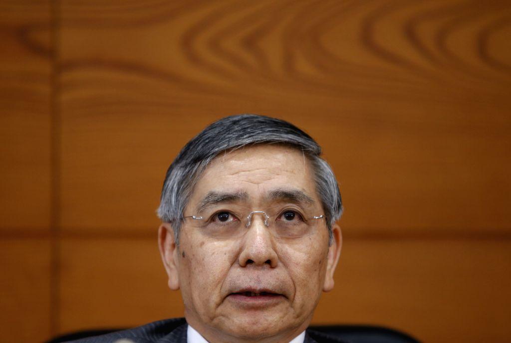 Governor of the Bank of Japan (BOJ) Haruhiko Kuroda attends a press conference at BOJ's headquarters in Tokyo, Japan, April 30, 2015. The Bank of Japan on Thursday ...