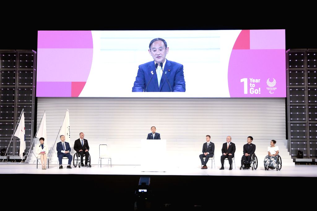 "TOKYO, Aug. 25, 2019 - Japan's Chief Cabinet Secretary Yoshihide Suga gives a speech during the ""One Year to Go"" ceremony held to celebrate the one year countdown to Tokyo 2020 Paralympic ..."
