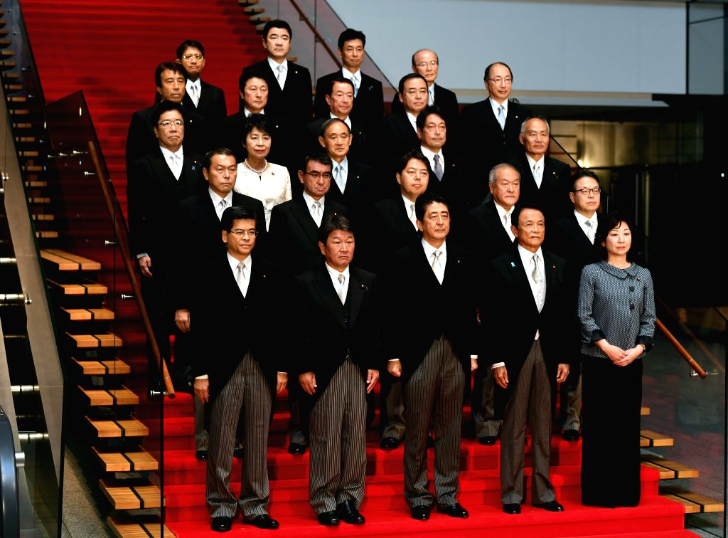 TOKYO, Aug. 3, 2017 - Japanese Prime Minister Shinzo Abe (front C) and his cabinet members pose for photos at Abe's official residence in Tokyo, Japan, Aug. 3, 2017. Japanese Prime Minister Shinzo ... - Shinzo Abe