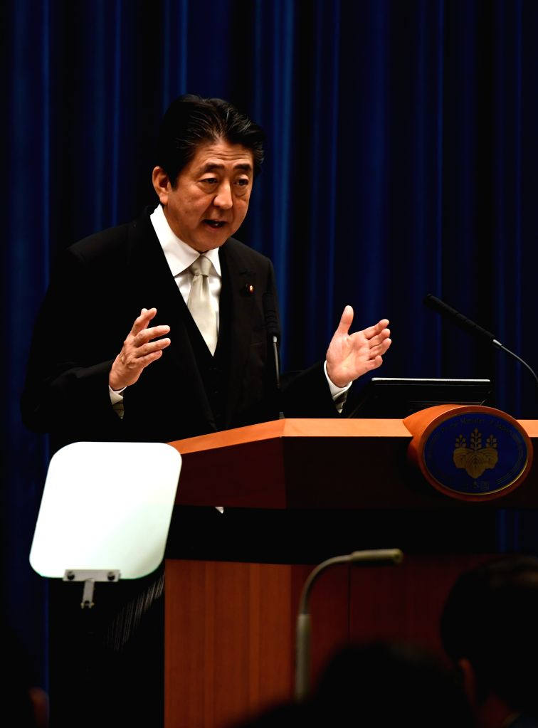 TOKYO, Aug. 3, 2017 - Japanese Prime Minister Shinzo Abe speaks during a press conference at his official residence in Tokyo, Japan, Aug. 3, 2017. Japanese Prime Minister Shinzo Abe reshuffled his ... - Shinzo Abe
